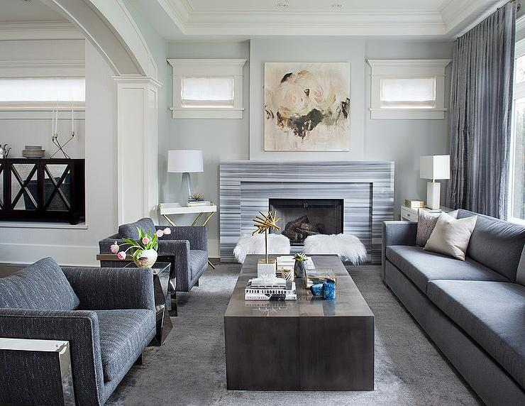 Gray Living Room with Gray Striped Marble Fireplace