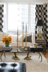 Black and Gold Living Room with Gold Curtains ...