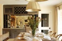 Gray Dining Room Bar with Mirrored Backsplash ...