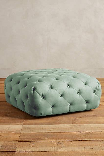 Green Button Tufted Large Round Velvet Storage Ottoman