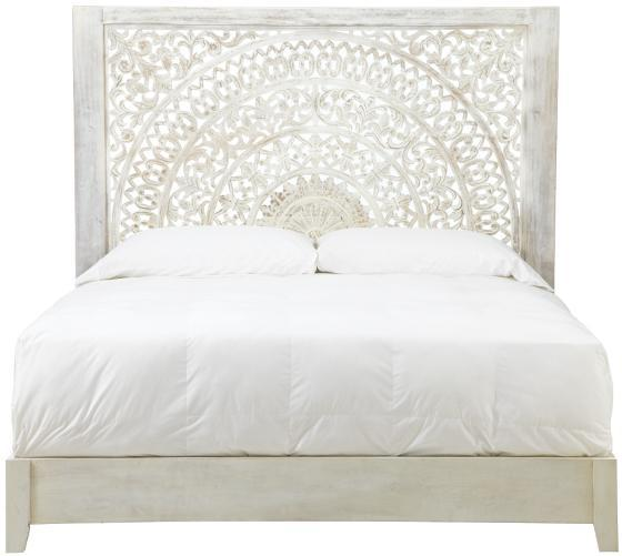 Handcarved White Carved Lotus Bed