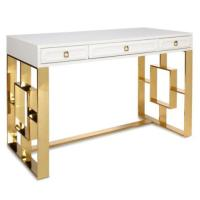 White Glass Antique Gold Frame Desk
