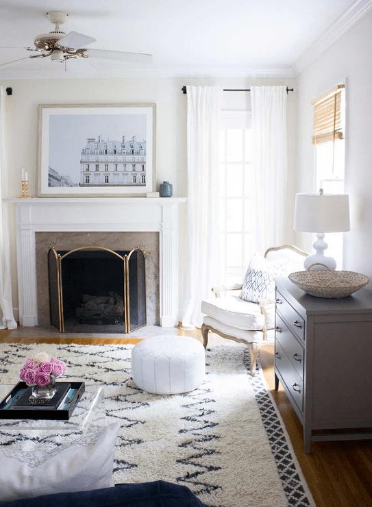 Transitional  Living Room  Sherwin Williams Shoji White