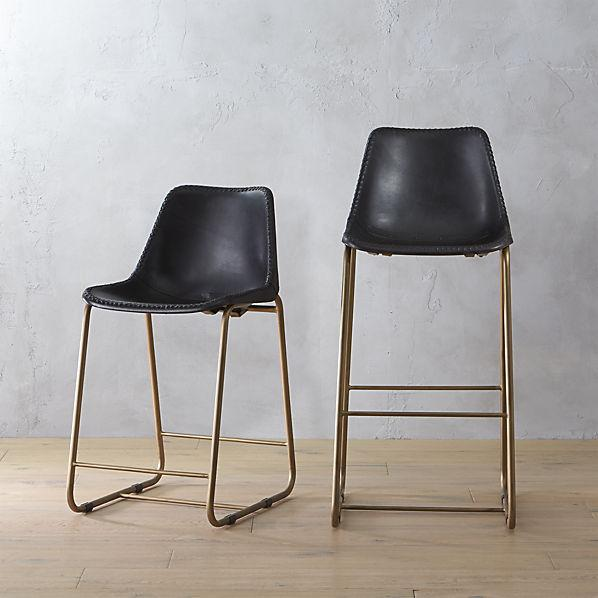 Curved Leather Bar + Counter Stool