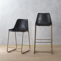 Curved Leather Bar + Counter Stool - Elephant - west elm