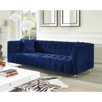 Navy Blue Velvet Tufted Bottom Sofa