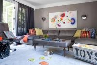 Gray Family Room with Gray U Shaped Sectional ...