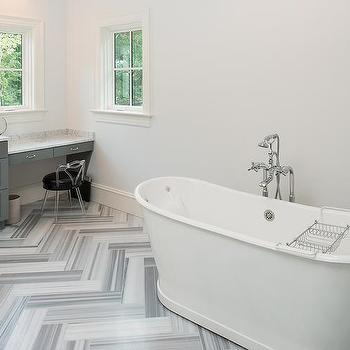 Gray Bathroom With Gray Marble Herringbone Floor Tiles Contemporary Bathroom