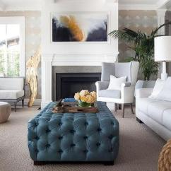 Ottoman Coffee Tables Living Room Beautiful Curtain Designs For White Tufted Table Design Ideas Two Tone Wingback Chair With Blue As View Full Size Chic