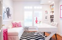 Home Office with Wood Top Built In Desk and Hot Pink