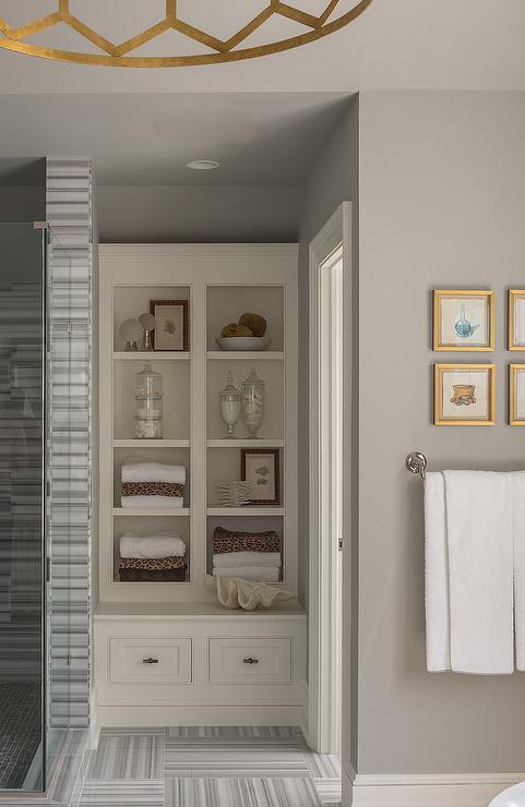 White And Gray Striped Bathroom Tiles Design Ideas