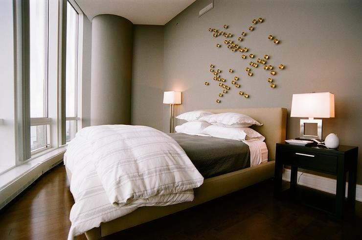 Gold and Gray Bedroom with Gold Art  Contemporary  Bedroom