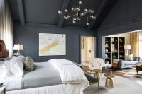 Dark Gray and Gold Bedroom with Vaulted Ceiling ...