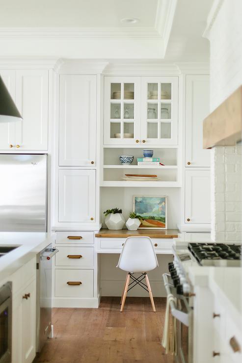 Built In Kitchen Desk Nook with Butcher Block Top