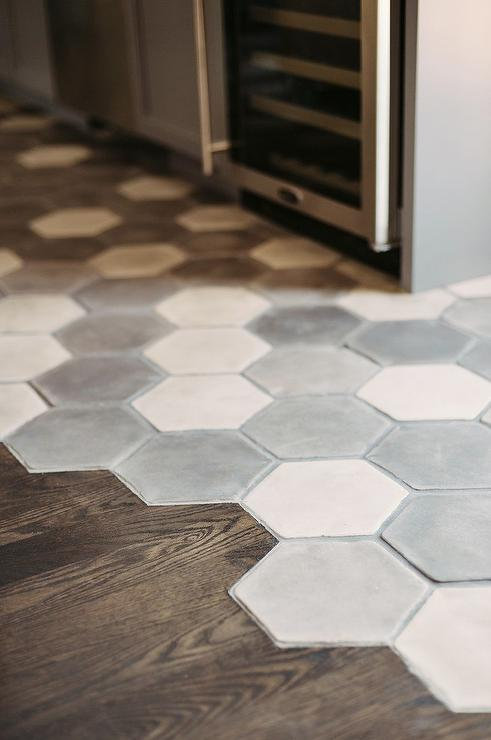 White And Gray Hex Concrete Floor Tiles Contemporary Kitchen