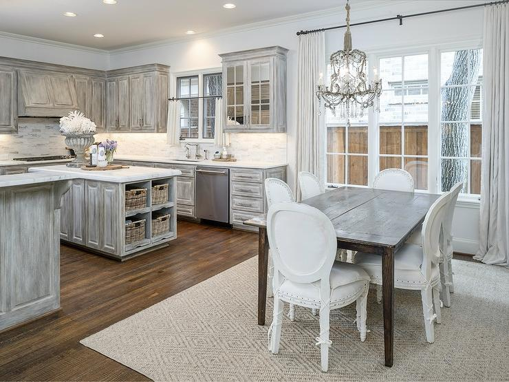 antiqued kitchen cabinets ikea table and chairs gray distressed with danby marble countertops