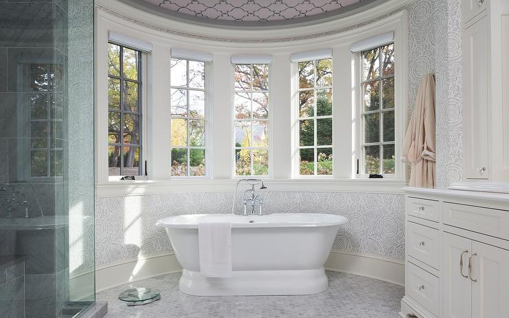 Round Bathroom with Pink Ceiling  Transitional  Bathroom