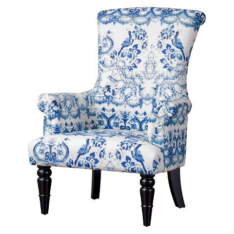 blue and white upholstered chairs plastic lowes baxton studio chair