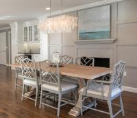 Salvaged Wood Trestle Dining Table with Gray Bamboo Dining ...