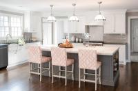 Gray KItchen Island with Pink Trellis Counter Stools ...