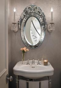 Gray French Powder Room with Oval Venetian Mirror