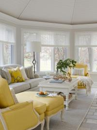 Yellow and Gray Living Room with Spindle Coffee Table ...
