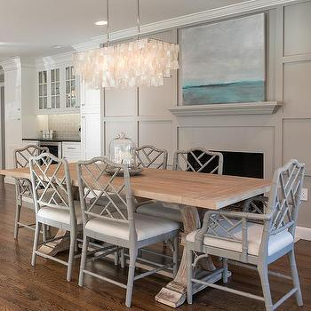 Salvaged Wood Trestle Dining Table With Gray Bamboo Chairs View Full Size Amazing Room Features A West Elm Large Rectangle Hanging Capiz