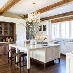 Kitchen Trim Decorative Plates For Wall White Cabinets With Stained Oak Design Ideas And Brown Wood Ceiling Beams