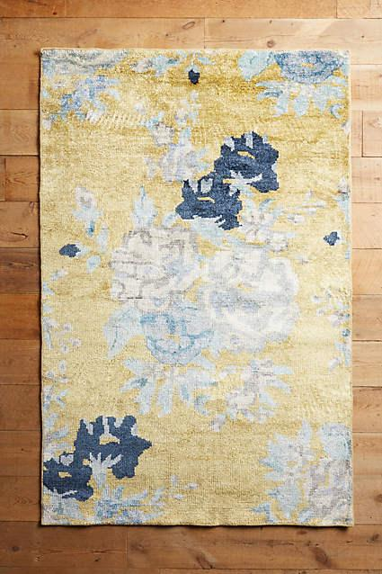 yellow and gray rug for living room drapery ideas windows blue floral needlepoint