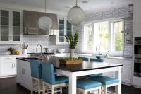 Long KItchen Island as Dining Table with Blue Leather ...