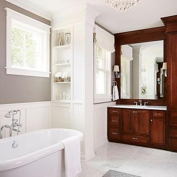 Bathroom with White Subway Tiles On Upper Walls and Board and batten on Lower Walls  Modern