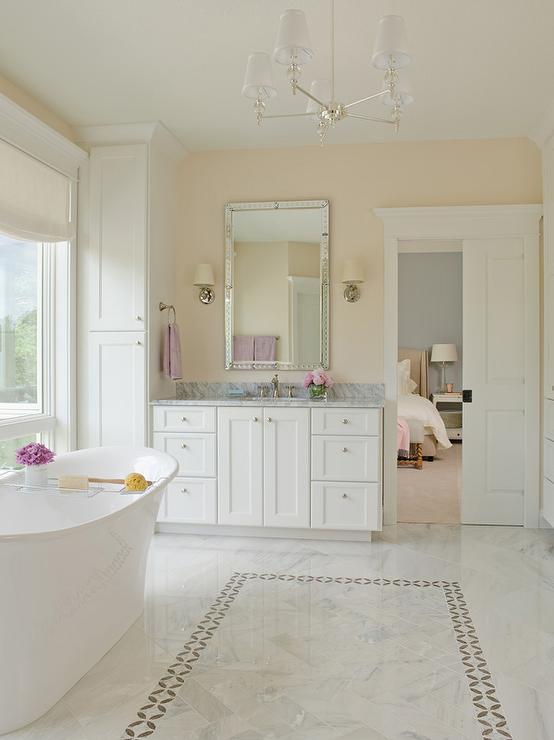 White Marble Herringbone Floor Tiles with Gray Border