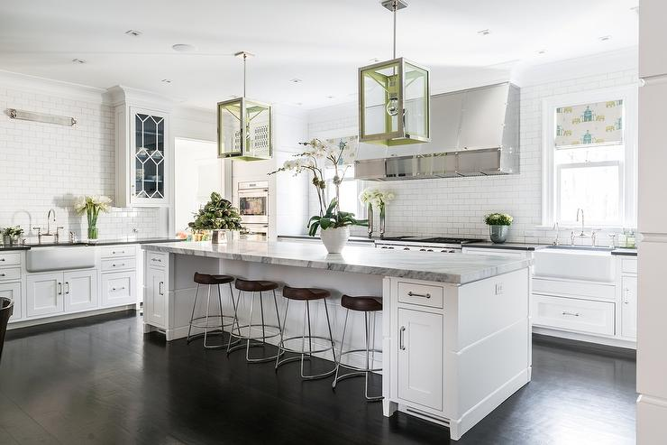 White Kitchen with Blue and Green Accents  Transitional
