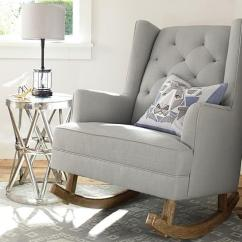 Abbyson Living Thatcher Fabric Rocking Chair In Beige Swivel Vitra Rocker Modern Grey Tufted Wingback Convertible