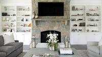 Gray Living Room with Flat Panel TV Over Stone Fireplace ...
