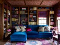 Sapphire Blue Velvet Sectional with Pink and Gray Rug ...