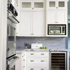 White Kitchen Island With Stools Wooden Sink Blue Backsplash And Roman Shade ...