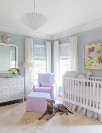 Lavender Girl Nursery with Gray French Crib - Transitional ...
