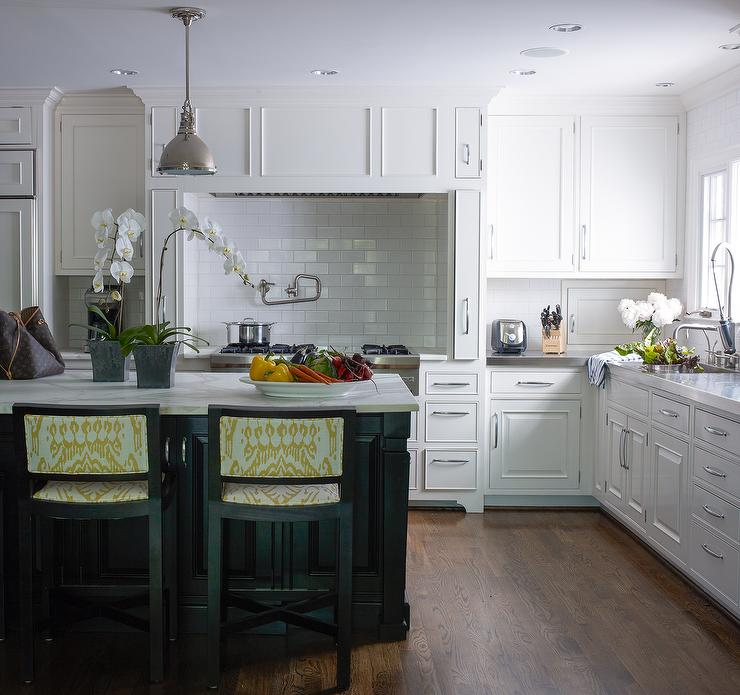 Cooking Alcove with Marble Diamond Pattern Tiles