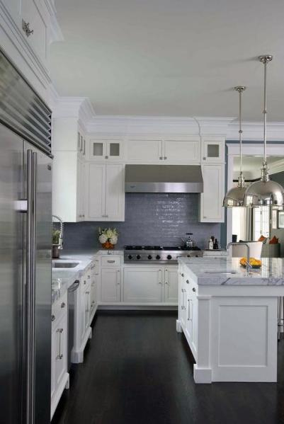 white kitchen cabinets blue countertops Contemporary Gray Kitchen with Metal X Back Counter Stools - Contemporary - Kitchen