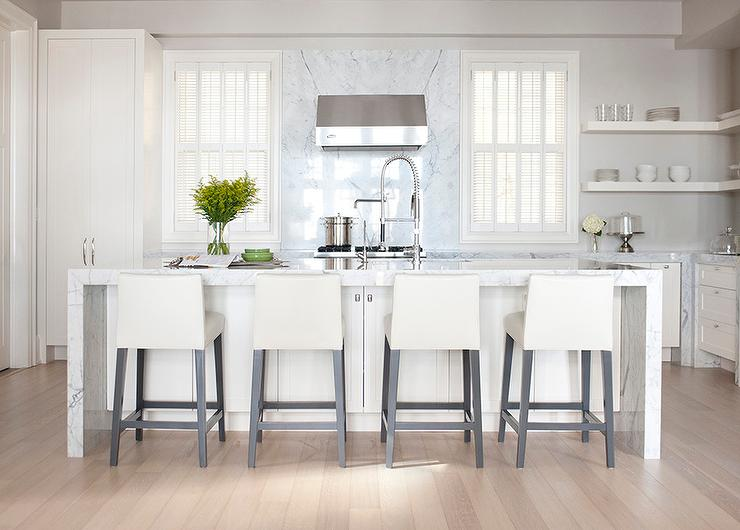 off white kitchen cabinets lighting led under cabinet design ideas features paired with gray marble countertops and a slab backsplash that goes all the way up to cieling