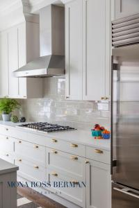 White Kitchen with Glossy Gray Backsplash Tiles ...