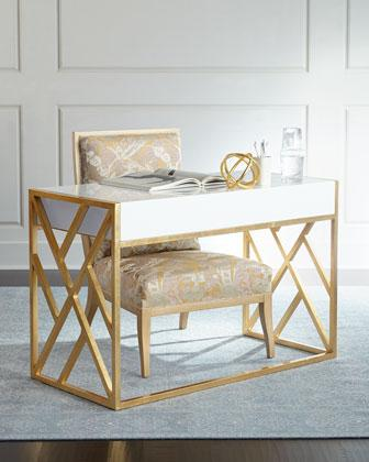 Nova White and Gold Rectangular Writing Desk