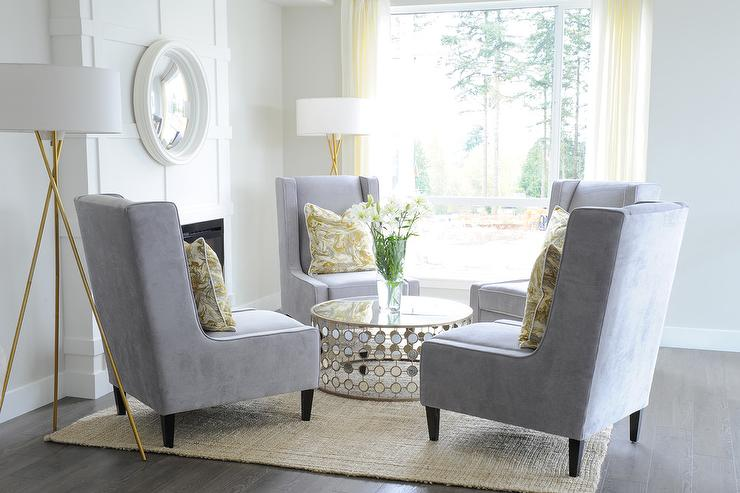 Yellow Coffee Table  Transitional  living room  Lonny