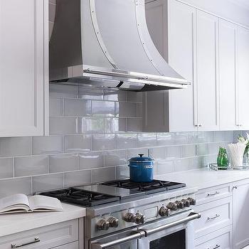 beveled subway tile kitchen lowes kitchens designs backsplash transitional cote de texas gray tiles with french hood