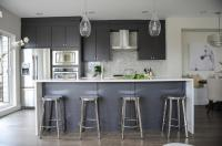 Modern Gray Kitchen with Round Chrome Counter Stools ...