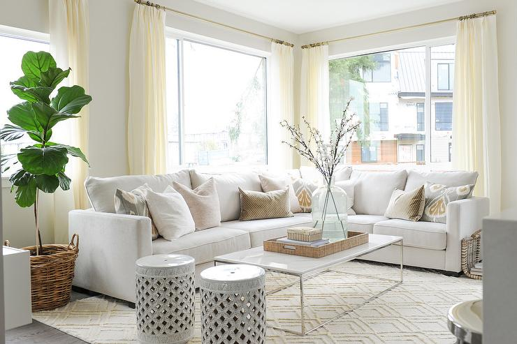 White Roll Arm Chairs With Diamond Print Jute Rug