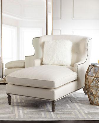Bernhardt Hyland Off White Wingback Chaise