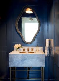 Navy Blue Powder Room with Marble Vanity and Gold Sink ...