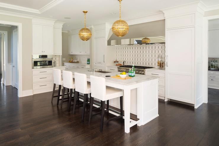 White Kitchen Island with Gold Globe Pendants  Transitional  Kitchen  Benjamin Moore Simply White